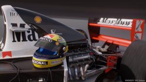 MP4/8 with Ayrton Senna's helmet